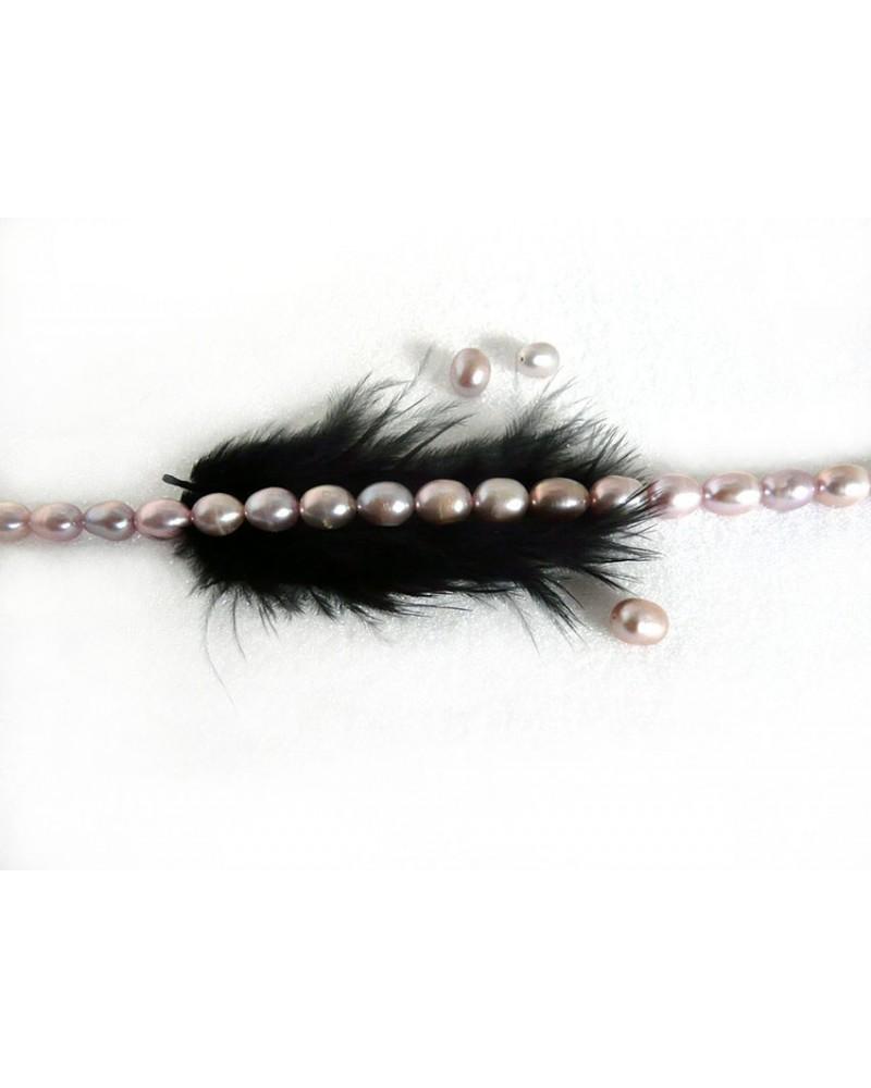 Perles d'eau douce 1 grade 7 x 8-9mm lavande-rosé par 4