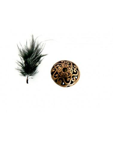 Perle  filigranée  16 x 8.5mm cuivre antique X 1