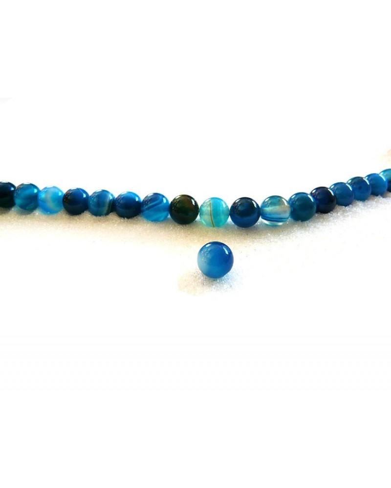 Agate bleu mix 8mm lisse par 10