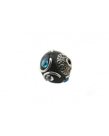 Perle d'indonésie 16 mm  NOIR 6 strass  x1