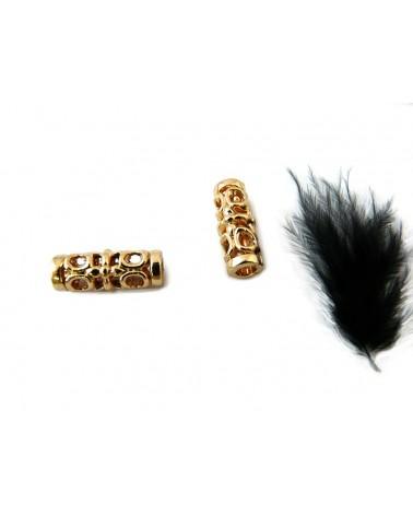 Perle creuse ovale décorée 18 x 11 mm plaquée or  X 1