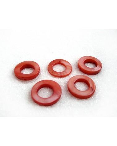 Anneau percé 15mm  rouge X 1