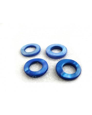 Anneau percé nacré 15mm bleu soutenu X 1