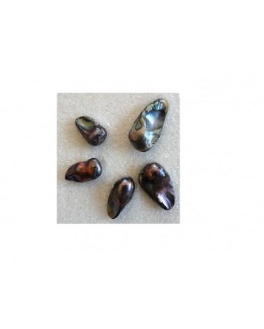 Perles baroques d'eau douce GRIS x 5