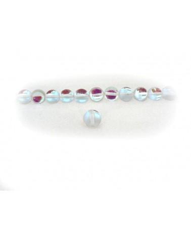 Perles lisses verre composite 8mm Transparent-cristal par 10