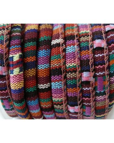 Cordon ethnique rond 6 mm multicolore N°3 x 25cm