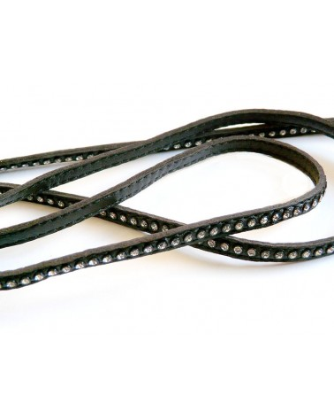 Cuir Nappa plat noir 6mm et cristaux Swarovki X 20cm