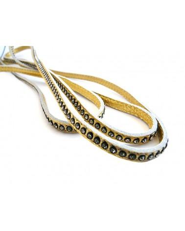 Cuir Nappa plat doré 6mm et cristaux Swarovki X 20cm