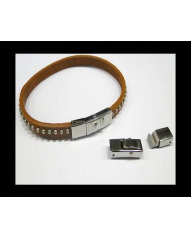 Fermoir incurvé acier inoxydable pour cordon plat 6x4mm X 1