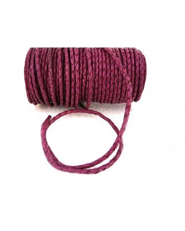 Cuir tressé 3mm prune violette  x 50CM