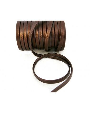 Cuir Nappa plat bronze métalisé 5mm X 50cm