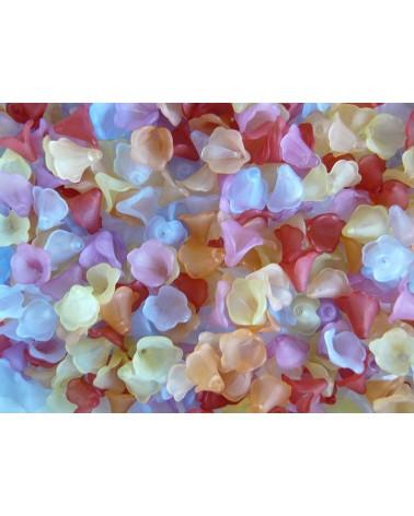 Fleurs calice 10x10mm givrées mélangées x 20