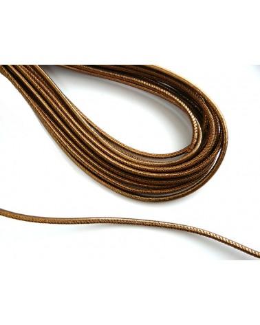 Cuir Nappa rond 3mm or antique métalisé X 50cm