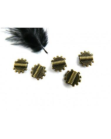 Perle plate 9.5 mm BRONZE par 10