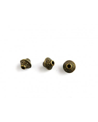 Bicône, toupie 7 x 6.5mm argenté X 1 ou par 10