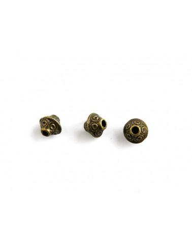 Bicône, toupie 7 x 6.5mm bronze X 10