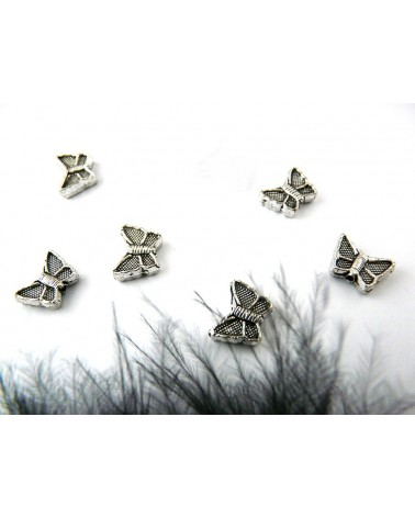 Papillon 11 x 9 mm en métal argenté x 5