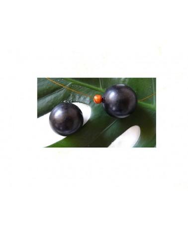 Ebène grosse perle bois exotique NOIR satiné 25mm X 1