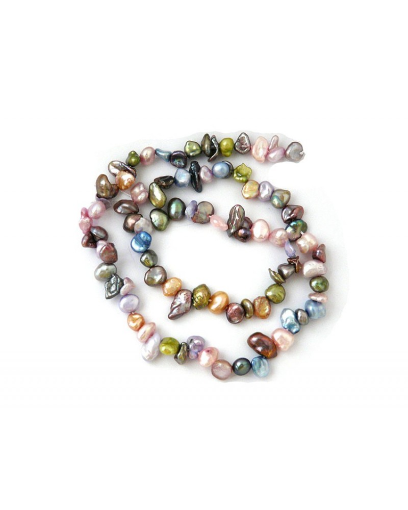 Perles d'eau douce KESHI 5-9mm  multicolores X 1 rang
