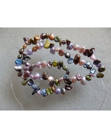 Perles d'eau douce KEISHI 5-9mm  multicolores X 1 rang