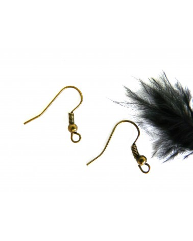 Crochets d'oreilles boule 18.5mm bronze x 6