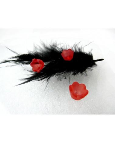Clochette fleur acylique10x6mm rouge givré X 10