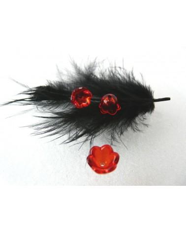 Clochette fleur acylique10x6mm rouge cristal X 10