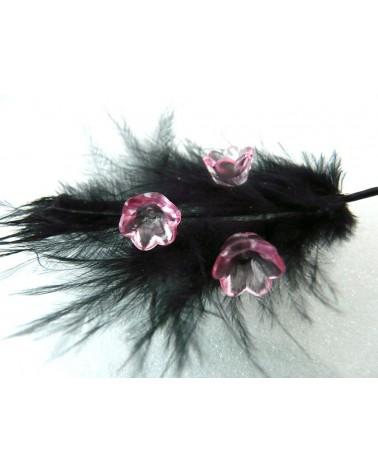 Clochette fleur acylique10x6mm rose cristal X 10