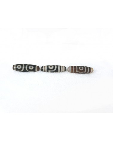 Agate  tibétaine DZI 40x13mm aspect dépoli 3 yeux X 1pièce