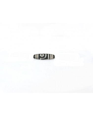 Agate tibétaine DZI 40x13mm aspect dépoli 2 yeux X 1pièce