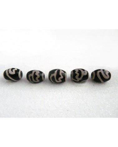 Agate Tibétaine DZI lotus noir et blanc 16x12mm X1