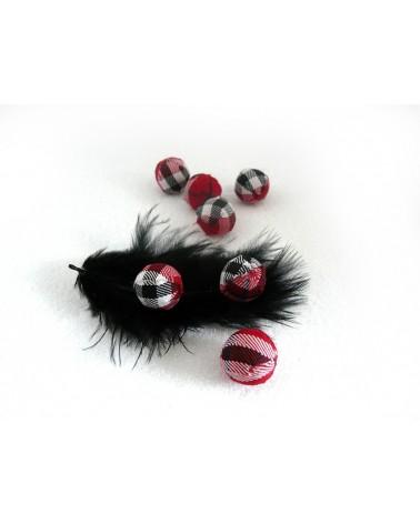 Perle en tissu 14mm jacquart rouge X1