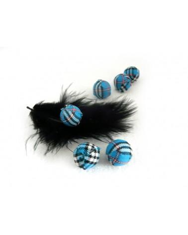 Perle en tissu 14mm jacquard écossais turquoise X1