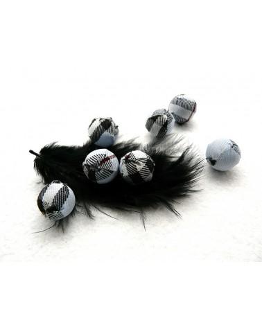 Perle en tissu 14mm écossais ciel blanc noir X1