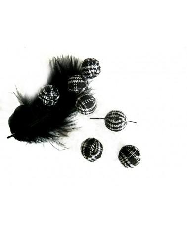 Perle en tissu 14mm  écossais noir et rouge X1