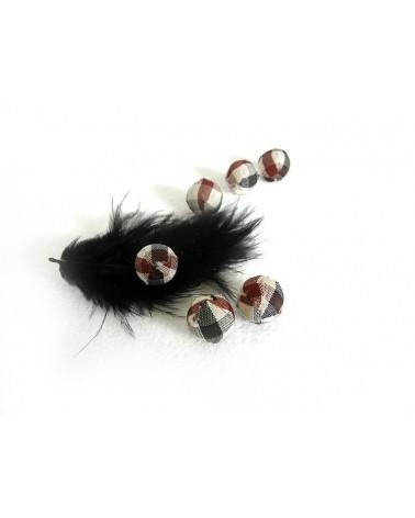 Perle en tissu 14mm  écossais marron noir blanc X1