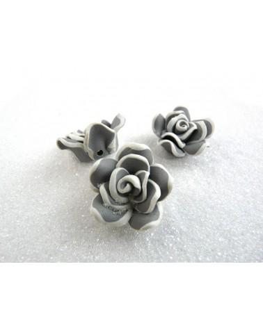 Rose fimo 21mm gris et blanc X 1