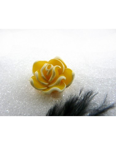 Rose Fimo 20mm Jaune X 1