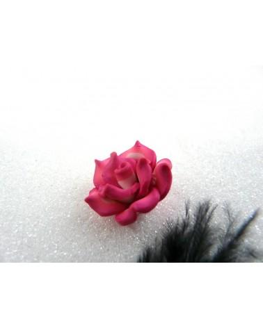 Rose Fimo 20mm Rose Fuchsia-blanc X 1