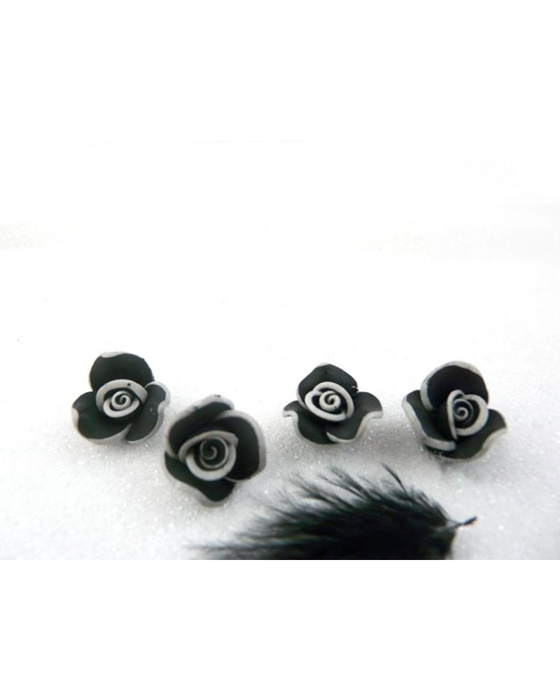 Rose Fimo 15mm Noir et Gris X 1