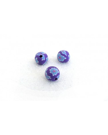 Perles polymère Fimo 8mm-Turquoise-rose -violet x 10