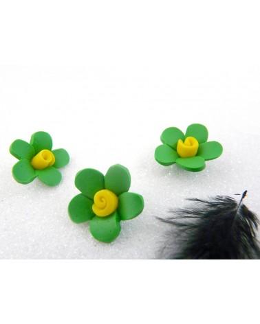 Fleur Fimo 18mm Vert et Jaune X 1