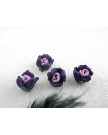 Rose Fimo 11mm violet parme vert X 1