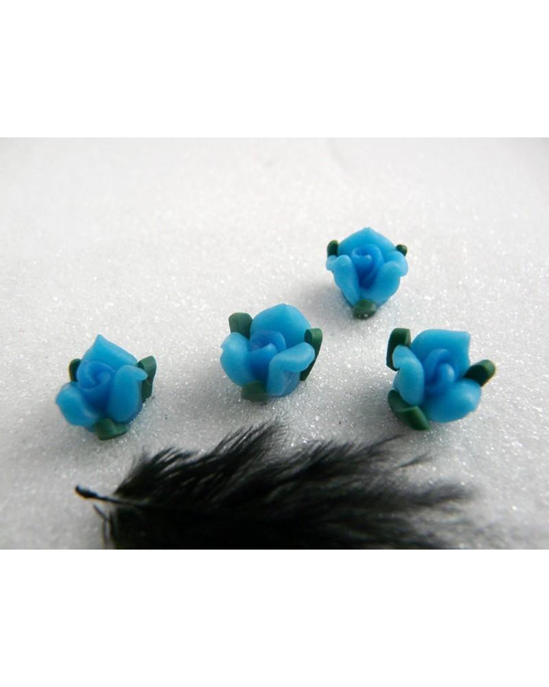 Rose Fimo 11mm Bleu vert X 1