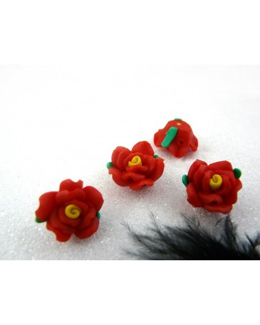 Rose Fimo 16mm Rouge X 1