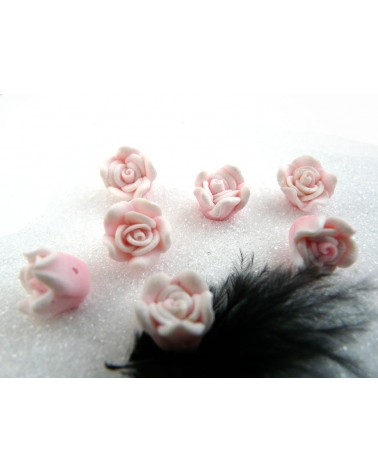 Rose Fimo 10.5mm Rose clair X 1