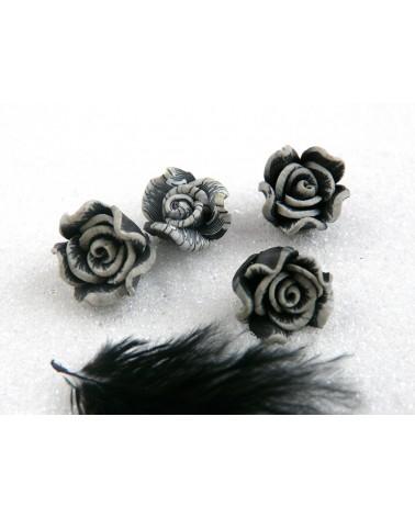 Rose Fimo 10.5mm Noir Gris X 1