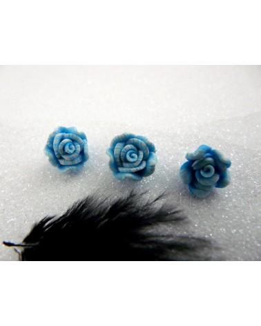 Rose Fimo 10.5mm-Bleu X 1