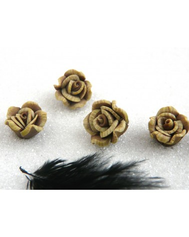 Rose Fimo 10.5mm-Beige blanc X 1