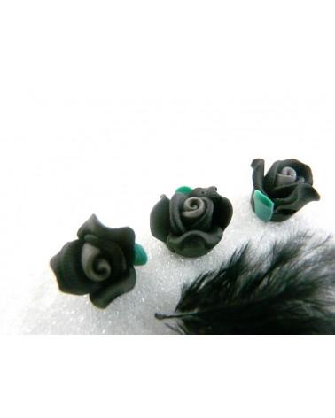 Rose Fimo 13mm Noir Vert coeur Gris X 1